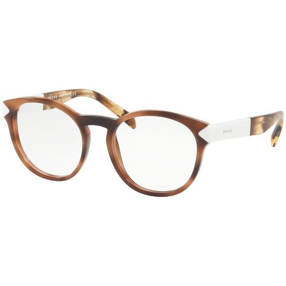 264b506d17 Prada Eyeglasses Striped Dark Brown w Demo Lens